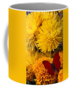 Red Butterfly On African Marigold Coffee Mug