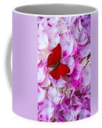 Red Butterfly On Hydrangea Coffee Mug