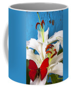 Red Butterfly On White Tiger Lily Coffee Mug