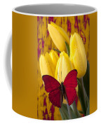 Red Butterfly Resting On Tulips Coffee Mug