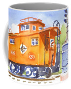 Red Caboose With Signal  Coffee Mug