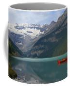 Red Canoes On Lake Louise Coffee Mug