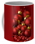 Red Christmas Baubles Coffee Mug by Anne Gilbert