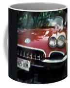 Red Corvette With Trees Coffee Mug