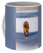 Red Fox Crossing A Frozen Lake Coffee Mug