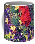 Red Geranium With Yellow And Purple Flowers - Horizontal Coffee Mug