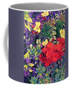 Red Geranium With Yellow And Purple Flowers - Vertical Coffee Mug