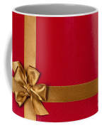Red Gift Background With Gold Ribbon Coffee Mug