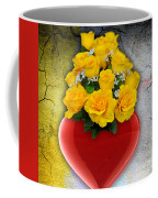 Red Heart Vase With Yellow Roses Coffee Mug