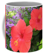 Red Hibiscus And Purple Blossoms Coffee Mug