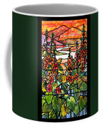 Stained Glass Tiffany Red Hollyhocks In Landscape In Watercolor Coffee Mug