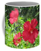 Red Hollyhocks Coffee Mug