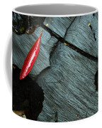 Red Leaf On Cut Wood Coffee Mug
