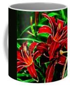 Red Lilies Expressive Brushstrokes Coffee Mug