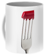 Red Lipstick On Fork Coffee Mug