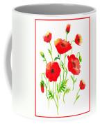 Red Poppies Botanical Design Coffee Mug