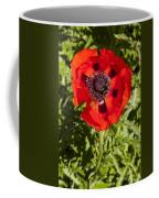 Red Poppy And Bee Coffee Mug