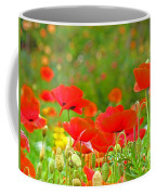 Red Poppy Flowers Meadow Art Prints Coffee Mug