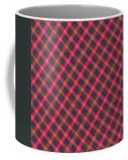Red Purple And Green Diagonal Plaid Textile Background Coffee Mug