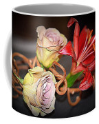 Purple Roses And Red Lily Coffee Mug