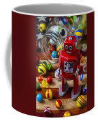 Red Robot And Marbles Coffee Mug