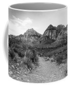Red Rock Canyon Trailhead Black And White Coffee Mug