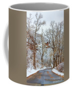 Red Rock Winter Road Portrait Coffee Mug
