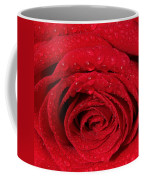 Red Rose And Water Drops Coffee Mug