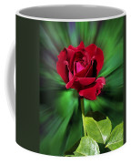 Red Rose Green Background Coffee Mug
