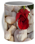 Red Rose On River Rocks Coffee Mug