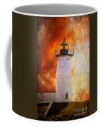 Red Sky At Morning - Nubble Lighthouse Coffee Mug by Lois Bryan