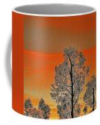 Red Sunset With Trees Coffee Mug