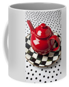 Red Teapot On Checkerboard Plate Coffee Mug by Garry Gay