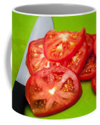 Red Tomato Slices And Knife On Green Chopping Board Coffee Mug