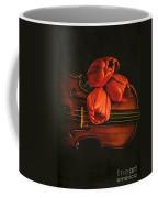 Red Tulips On A Violin Coffee Mug
