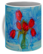 Red Tulips With Blue Background Coffee Mug by Patricia Awapara