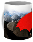 Red Umbrella In The City Coffee Mug