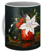 Red Vase With Lily And Pansies Coffee Mug