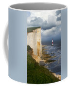 White Cliffs And Red-white Striped Lightouse In The Sea Coffee Mug