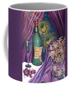 Red Wine And Peacock Feathers Coffee Mug