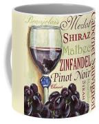 Red Wine Text Coffee Mug by Debbie DeWitt