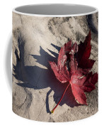 Reds And Purples - Deep Red Maple Leaf And Its Shadow Coffee Mug