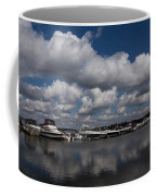 Reflecting On Boats And Clouds - Port Perry Marina Coffee Mug