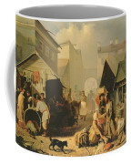 Refreshment Stall In St. Petersburg, 1858 Oil On Canvas Coffee Mug