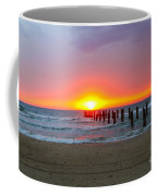 Remains Of A Wharf At Sunset Coffee Mug