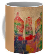 Renaissance Center Iconic Buildings Of Detroit Watercolor On Worn Canvas Series Number 2 Coffee Mug by Design Turnpike