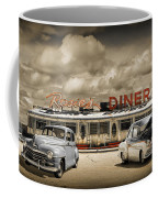 Retro Photo Of Historic Rosie's Diner With Vintage Automobiles Coffee Mug