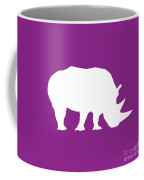 Rhino In Purple And White Coffee Mug