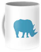 Rhino In White And Turquoise Coffee Mug