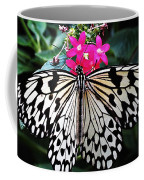 Rice Paper Butterfly On Pink Coffee Mug